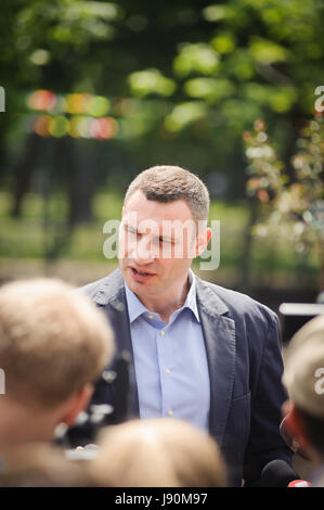 KIEV, UKRAINE - May 27, 2017: Kyiv Mayor Vitali Klichko took part in the Park Natalka opening in the Kyiv`s day - Stock Photo
