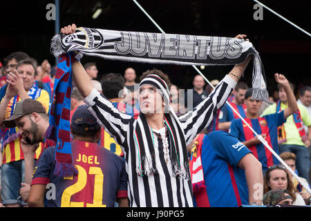 Madrid, Spain. 27th May, 2017. Juventus fans Football/Soccer : Copa del Rey Final match between FC Barcelona 3-1 - Stock Photo