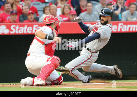 Los Angeles, California, USA. 30th May, 2017. May 30, 2017: in the game between the Atlanta Braves and Los Angeles - Stock Photo