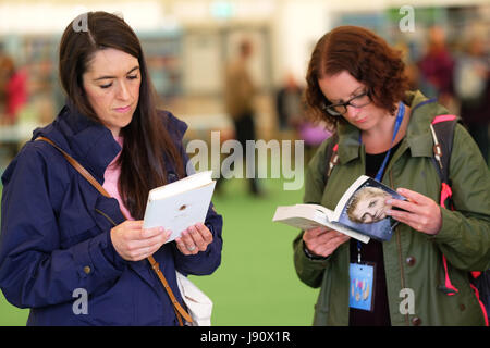 Hay Festival 2017 - Hay on Wye, Wales, UK -  May 2017 - Half Term Hay - Visitors browse the new books among the - Stock Photo