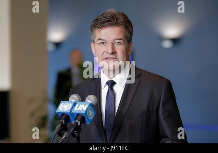 United Nations, New York, USA, May 31 2017 - Miroslav Lajeak, Minister of Foreign and European Affairs of Slovakia, - Stock Photo