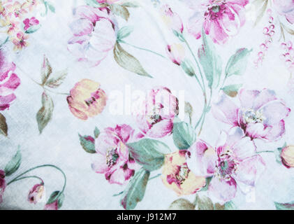 wale of fabric flowers in beautiful floral pattern - Stock Photo