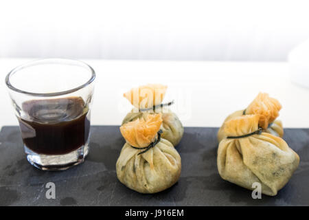 Vegetable sacks with soy, gormet food - Stock Photo