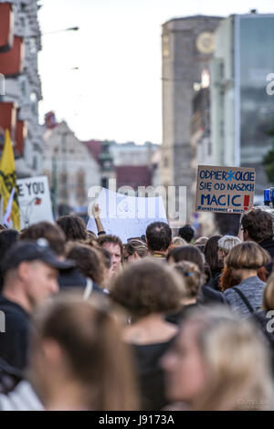 Protests in Poland against the total ban on abortion, black protest, women rights, women protesting. 2016 Poznan. - Stock Photo