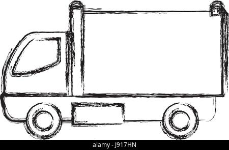 delivery truck cargo transport sketch Stock Vector Art ...