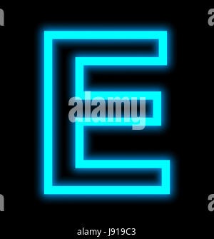 letter E neon lights outlined isolated on black background - Stock Photo