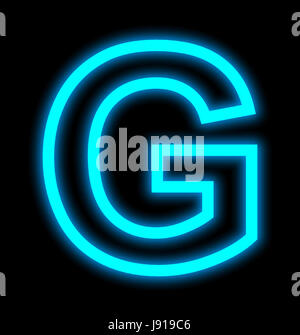 letter G neon lights outlined isolated on black background - Stock Photo