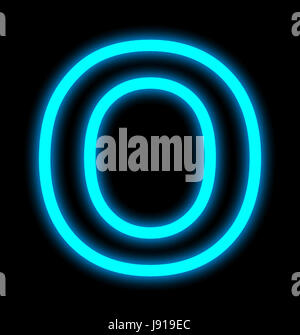 letter O neon lights outlined isolated on black background - Stock Photo