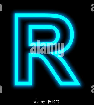 letter R neon lights outlined isolated on black background - Stock Photo