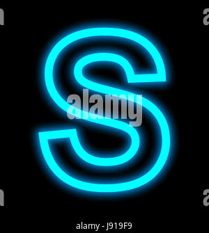 letter S neon lights outlined isolated on black background - Stock Photo