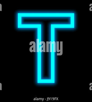 letter T neon lights outlined isolated on black background - Stock Photo