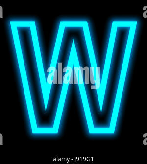 letter W neon lights outlined isolated on black background - Stock Photo