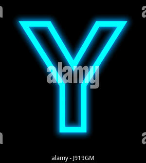 letter Y neon lights outlined isolated on black background - Stock Photo