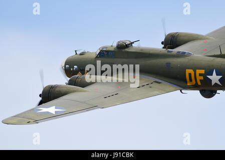 Boeing B-17 Flying Fortress Sally B flying at an air show. The USAAF wartime bomber is operated by B-17 Preservation - Stock Photo