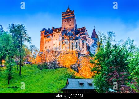 Brasov, Transylvania. Romania. The medieval Castle of Bran, known for the myth of Dracula. - Stock Photo