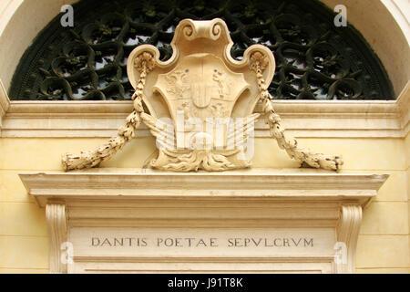 detail of dante tomb in ravenna - Stock Photo