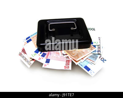 euro, save, bank notes, capital, black money, cash box, money, finances, lock, - Stock Photo