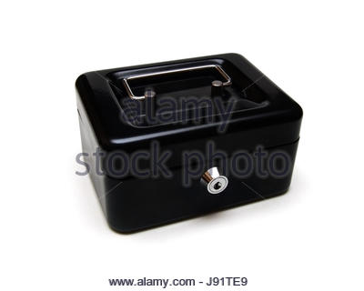 save, capital, cash box, money, finances, lock, till, black, swarthy, jetblack, - Stock Photo