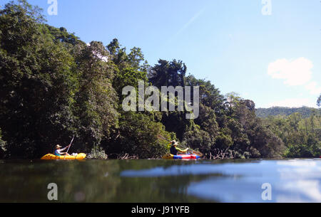 Couple paddling inflatable kayaks through rainforested Goldsborough Valley, Mulgrave River, near Cairns, Queensland, - Stock Photo