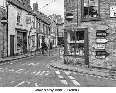 Book shops in Lion Street in Hay on Wye Wales UK - Stock Photo