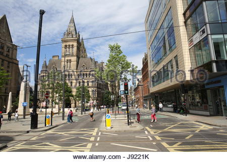 A sunny day in the city of Manchester in the week of the Manchester bombing - Stock Photo