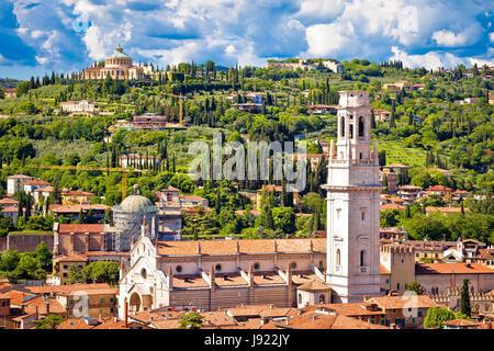 Verona rooftops and cityscape aerial view, Veneto region of Italy - Stock Photo