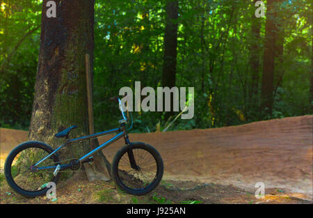 Extreme bike in the woods - Stock Photo