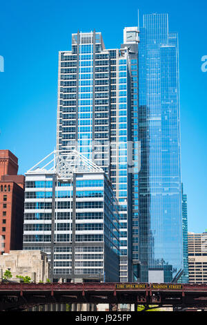 Chicago Illinois Near West Side Boeing World HQ 150 North Riverside Drive Chicago Sun Times buildings Lyric Opera - Stock Photo