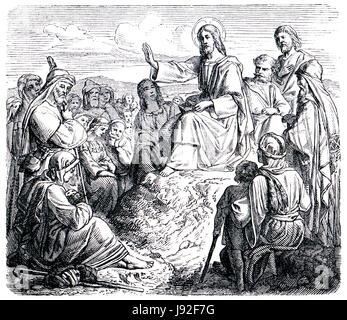 sermon, old, jesus, teacher, religion, church, antique, black, swarthy, - Stock Photo