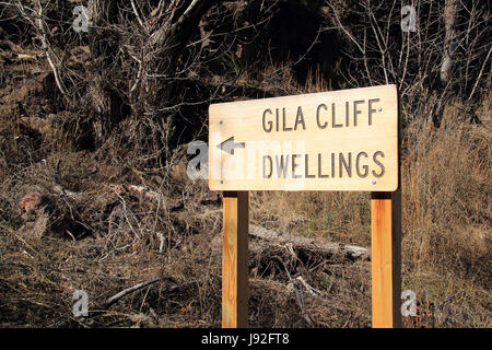 Gila Cliff Dwellings National Monument in New Mexico contains recreational trails, original Native American art, - Stock Photo