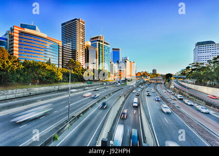 Wide view of multi lane Warringah freeway going through North SYdney during morning rush hour traffic peak and congestion - Stock Photo