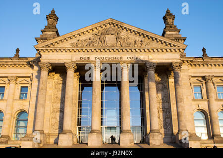 entrance to the reichstag in berlin - Stock Photo