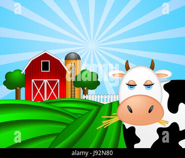elevator, lift, bull, grain, cow, barn, silo, ladder, red, cereal, tower, - Stock Photo