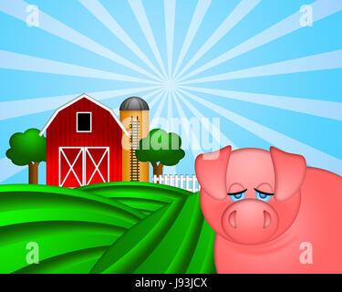 elevator, lift, grain, barn, silo, ladder, red, pork, pig, cereal, tower, - Stock Photo