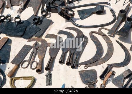 Various rusted vintage metal tools - hammer, pliers, chisels - Stock Photo