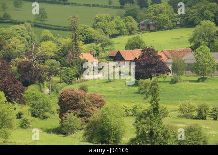 An English Rural Landscape in the Hambleden Valley in the Chiltern Hills - Stock Photo
