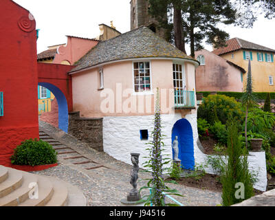 Portmeirion Italian styled village designed and built by Sir Clough Williams-Elis between 1925-1975,Gwynedd,North - Stock Photo