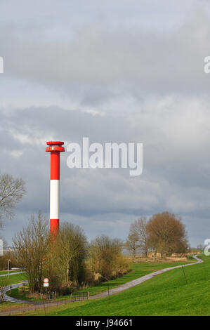 navigation, seafaring, elbe, dike, beacon, lighthouse, tower, navigation, - Stock Photo