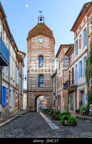 France, Tarn et Garonne, Auvillar, labelled Les Plus Beaux Villages de France (The Most beautiful Village of France), Horloge street and Clock Tower