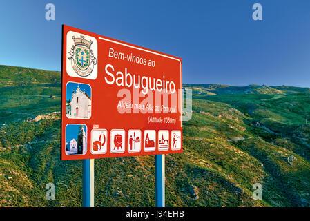 Street signal of Sabugueiro, highest village of Portugal - Stock Photo