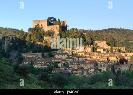France, Pyrenees Orientales, Castelnou, labelled Les Plus Beaux Villages de France (The Most beautiful Village of - Stock Photo