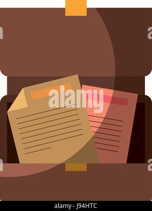 colorful silhouette of opened executive briefcase with documents without contour and shading - Stock Photo