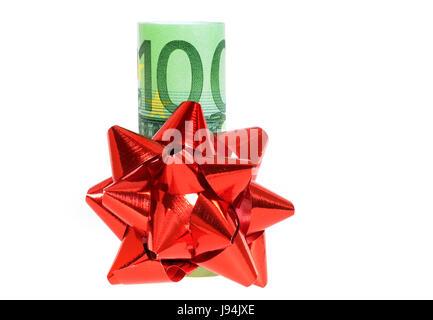 gift, bank note, loop, red, money, macro, close-up, macro admission, close up - Stock Photo