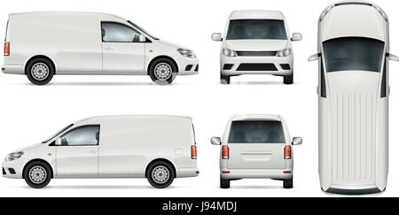 Car vector template for car branding and advertising. Isolated mini van set on white background. All layers and - Stock Photo