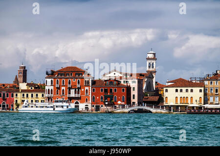 Venice Urban landscape,Scenic view,grand old houses,palazzo,bridge,Church tower, Venetian-Byzantine architecture - Stock Photo