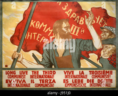 Vintage Russian Communist Propaganda Poster - Stock Photo