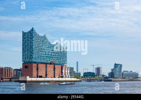 Hamburg, Germany - May 17, 2017: The Elbe Philharmonic Hall or Elbphilharmonie, concert hall in the HafenCity quarter - Stock Photo