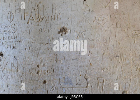 France, Yonne, Pontigny, Cistercian abbey of Pontigny, the church, graffiti in the entrance porch - Stock Photo