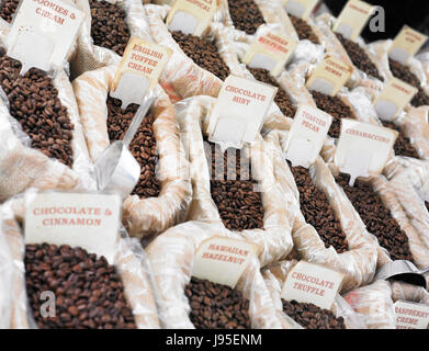 Coffee beans in bags - Stock Photo