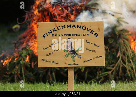 Benneckenstein, Germany. 5th June, 2017. A Whitsun bonfire in Benneckenstein, Germany, 5 June 2017. The area in - Stock Photo
